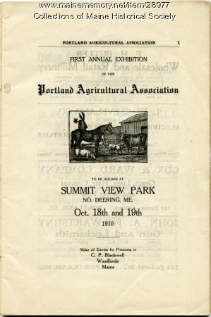 Announcement of Portland Agricultural Fair, 1910
