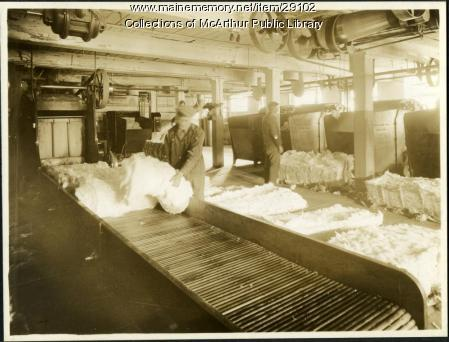Bale breakers at the Pepperell Mills, Biddeford circa 1925