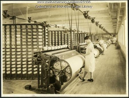 High speed warping at Pepperell Mills, Biddeford, circa 1925