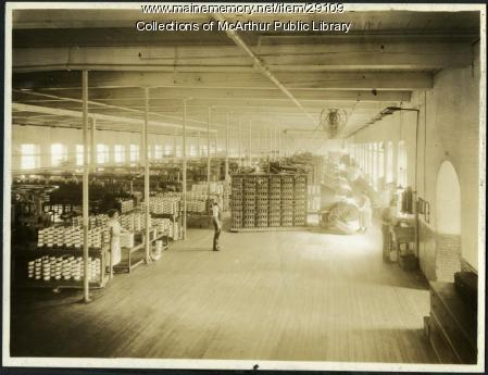 High-speed warping room, Pepperell Mills, Biddeford, ca. 1925