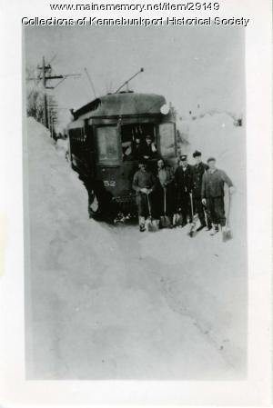 Trolley Crew Clearing Snow, Cape Porpoise, ca. 1910