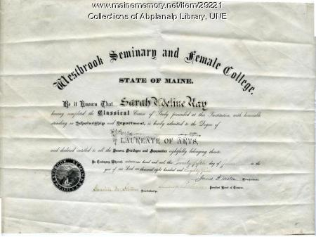 Laureate of Arts degree awarded to Sarah Ray, Westbrook Seminary, 1885
