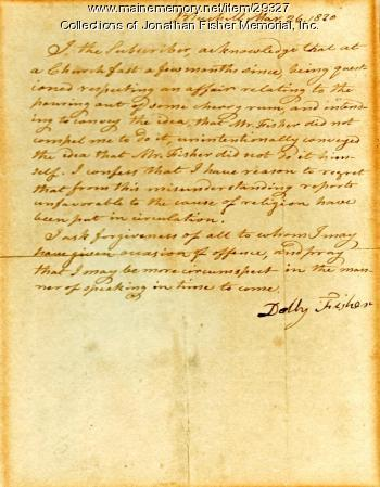Confession letter from Dolly Fisher, Blue Hill, 1830.