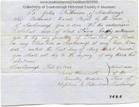 John Kilbourn Paper, Scarborough, 1852