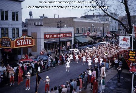 Sanford High School Band, Main Street, ca. 1955