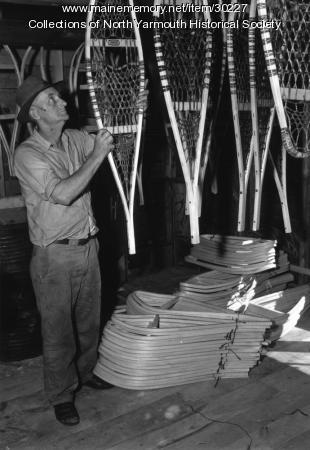 Clifford Anderson with snowshoes, North Yarmouth, ca. 1936