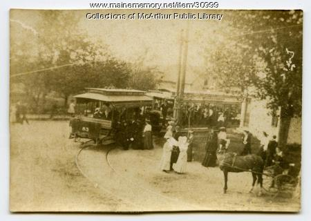 Passengers boarding trolley at Five Points, Biddeford, ca. 1900