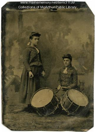 Young Girls in the uniform of Biddeford High School Cadets, ca. 1890
