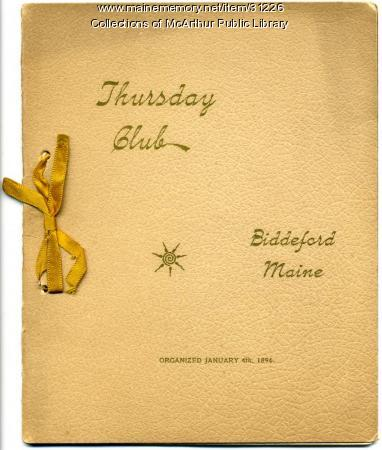 Thursday Club program, Biddeford, 1897
