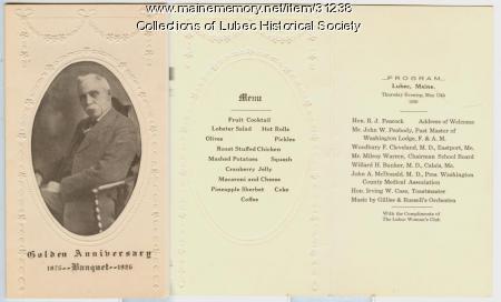 Dr. Bennet Anniversary Program, Lubec, 1926
