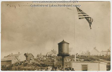Flag raising at can plant, Lubec, 1908
