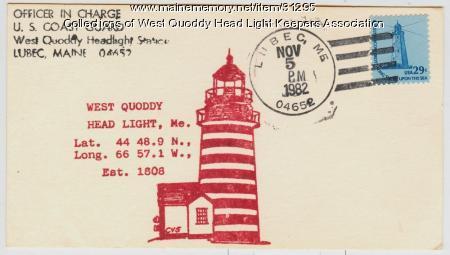 West Quoddy Head Light, souvenir postcard, 1982