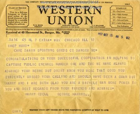 Congratulations for Shep Hurd, Bangor, October 13, 1937