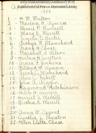 Prince Memorial Library, Cumberland, first registration book, 1923