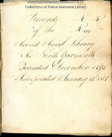 Records of The Second Social Library in North Yarmouth, 1817