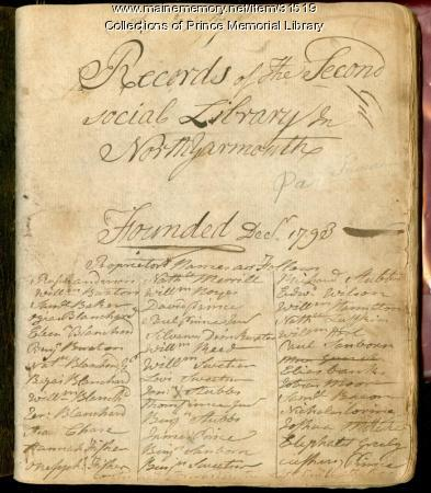 Records of The Second social Library In North Yarmouth, 1793