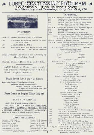 Centennial program, Lubec, 1911