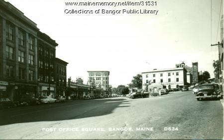 Post Office Square, State and Harlow Streets, Bangor, ca. 1949