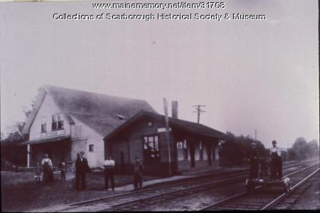 Oak Hill Railroad Station and Peterson's Grain Store, Scarborough, ca. 1905