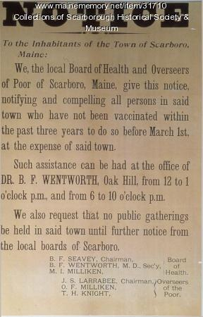 Notice about Vaccinations, Scarborough, 1902-1903