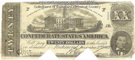 Confederate money, 1862