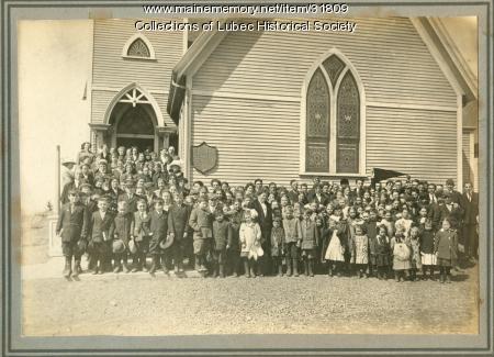 Christian Temple Church congregation, Lubec, ca. 1910