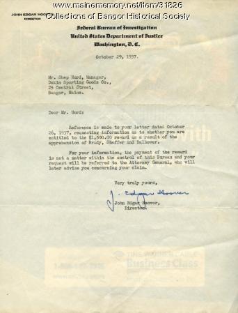 J. Edgar Hoover to Shep Hurd, Bangor, October 29, 1937