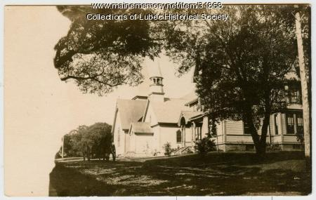 McCurdy House and churches, Lubec, ca. 1901