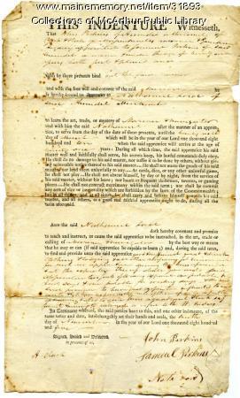 Indenture contract for Samuel Perkins of Arundel, 1805