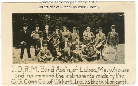 IORM Band advertising card, Lubec, ca. 1915