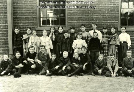 Cora Belle Bickford and Spruce Street School students, Biddeford, 1896