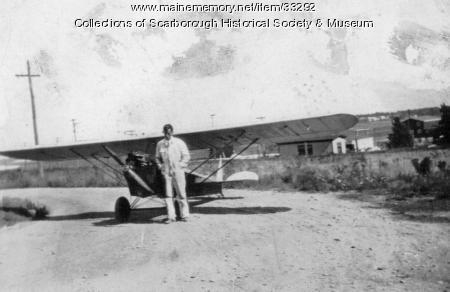 Joseph Snow Sr. and his aeroplane, Scarborough, ca. 1929
