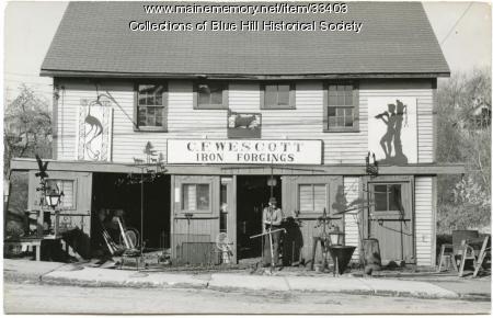 Charles Wescott's blacksmith shop, Blue Hill, ca. 1955