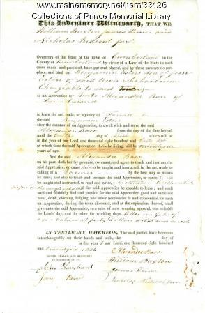 Benjamin Esters indenture document, Cumberland, 1826