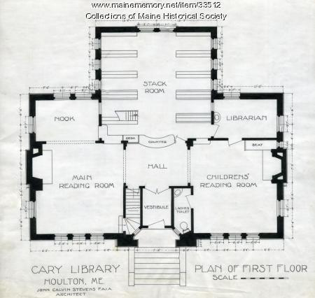Floor plan, Cary Library, Houton, 1903