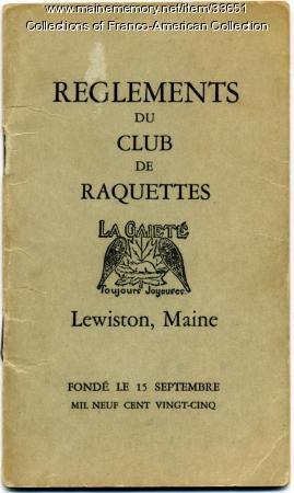 Reglements du Club de Raquettes La Gaiete, Lewiston