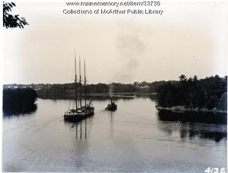 """Three-masted vessel being towed down Saco River by tug """"Joseph W. Baker,"""" ca. 1910"""