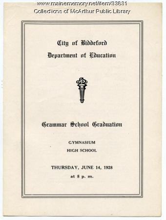 Grammar schools graduation program, Biddeford, June 1928