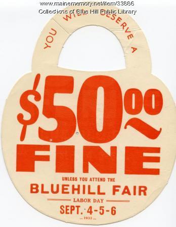 Doorknob hanger advertisement for Blue Hill Fair, 1933