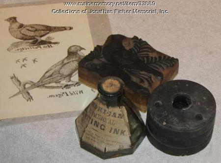 Inkwell,  Ink Bottle, Wood Cut Block, Blue Hill, ca. 1800