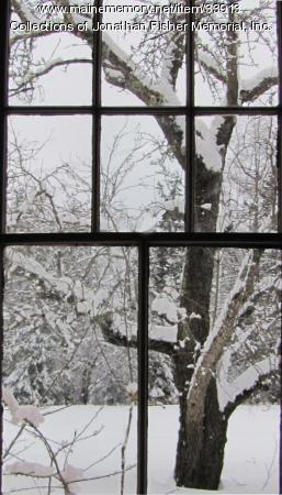 Pear tree through children's kitchen window, Blue Hill, ca. 1840