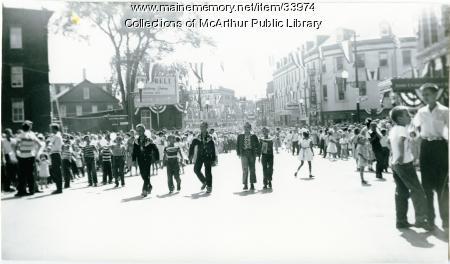 Boys on Main Street during City Centennial parade, Biddeford, 1955