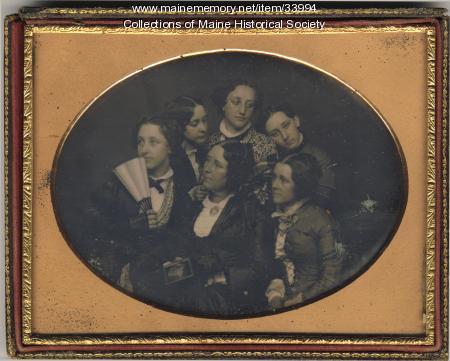 Anna Margaret Holwell Deering and daughters, Portland, ca. 1855