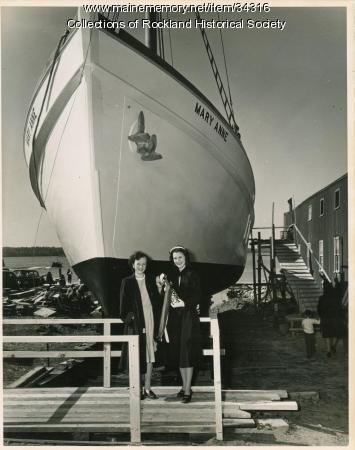 Sardine carrier Mary Anne and champagne, Thomaston, 1947