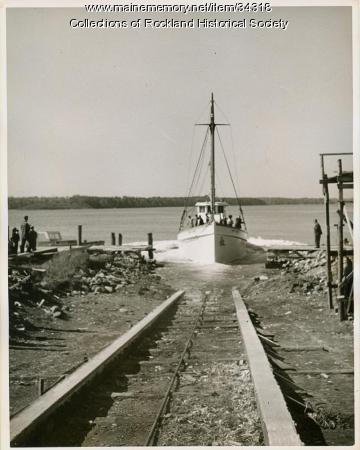 Sardine carrier Mary Anne hits the water, Thomaston, 1947