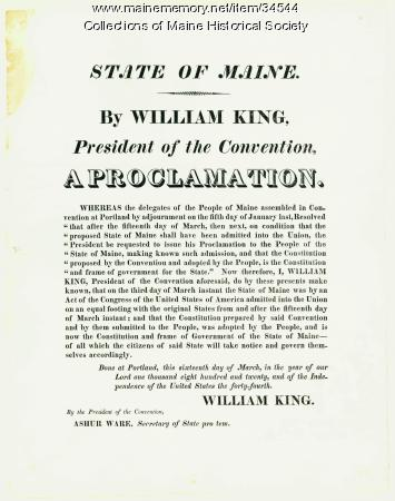 Proclamation of statehood, 1820