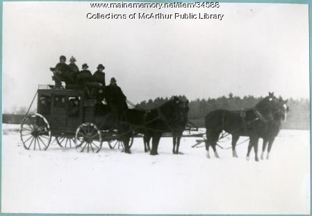 A stage coach ride in winter, ca. 1912