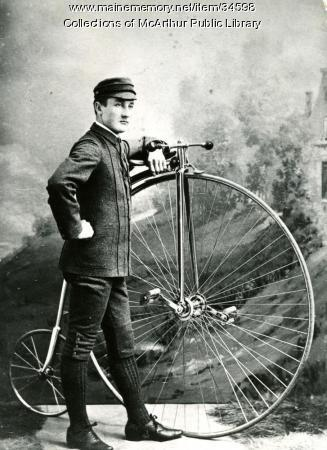 A.L.T. Cummings and his bicycle, Biddeford, 1888