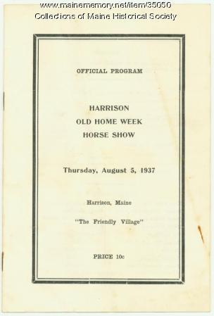 Harrison Old Home Week Horse Show program, 1937