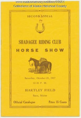 Shadagee Riding Club Horse Show Program, Saco, 1937
